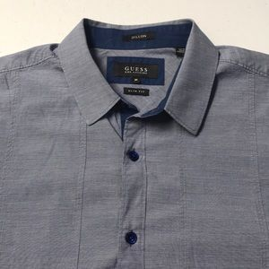 GUESS Mens Medium Blue Oxford Dress Shirt
